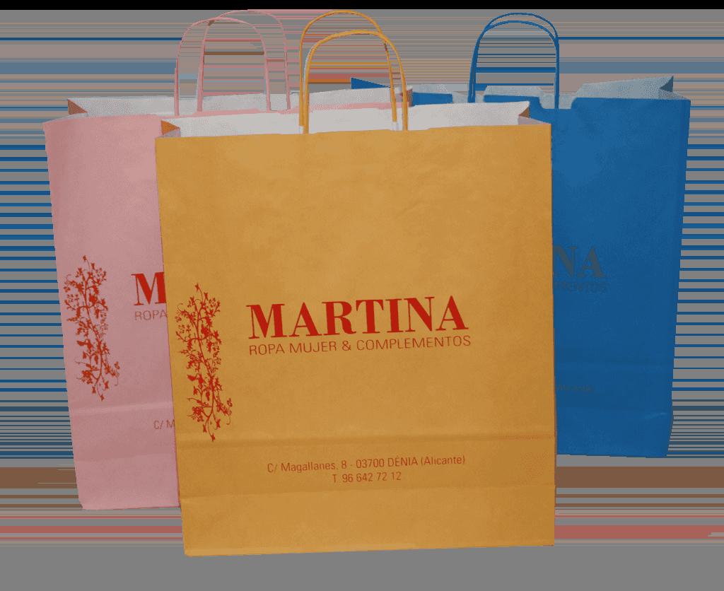 Bolsas de asa rizada color ocre ámbar, azul turquesa y rosa topacio