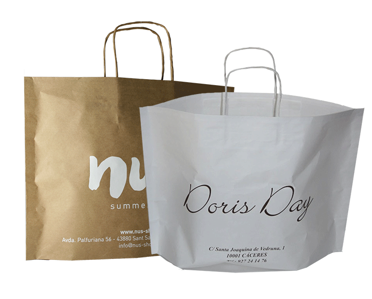New Bags Asa Rizada Blanca y Kraft