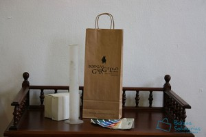 Bolsas para comercio baratas asa rizada para vino