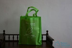 Bolsas para comercio baratas de tela verdes