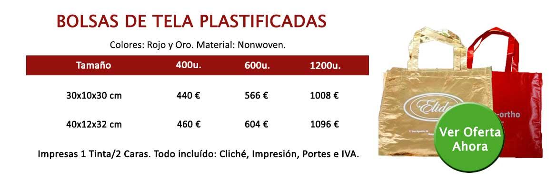 BOLSAS DE TELA PLASTIFICADAS