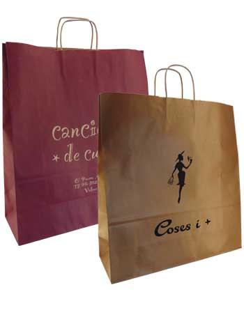 set bolsa de papel+ asa rizada grande colores cobre y burdeos