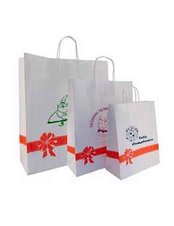 bolsa de papel + decorada motivo navideño